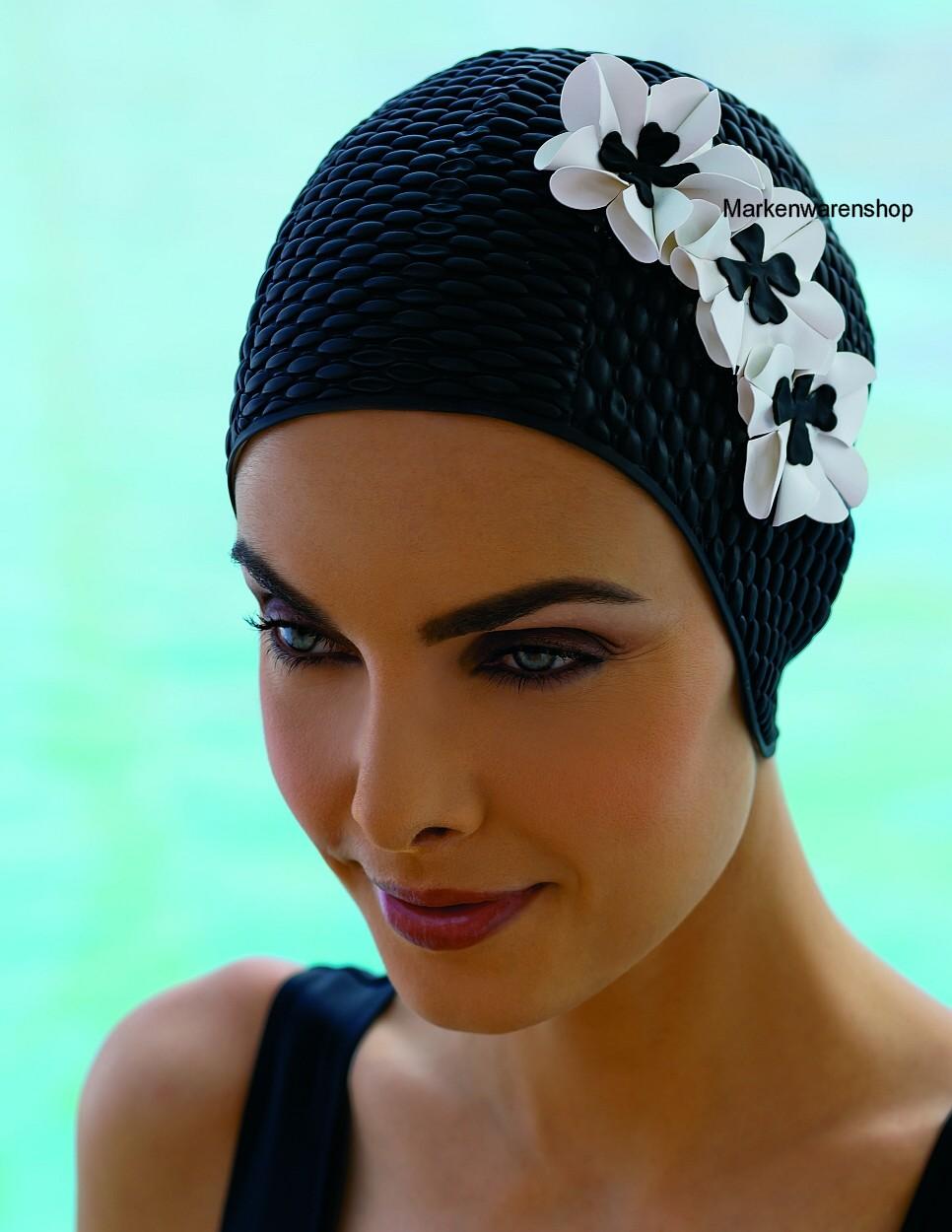 Bonnet de Bain 3 Fleurs Noir Blanc Caoutchouc Luftgefüllt 3119-20 Fashy