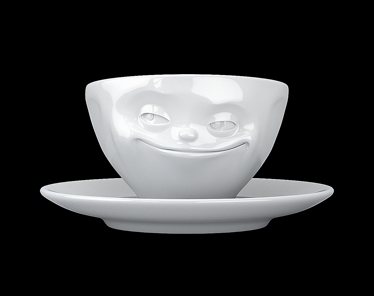 fiftyeight espressotasse tassen tv gesicht grinsend wei mit henkel. Black Bedroom Furniture Sets. Home Design Ideas