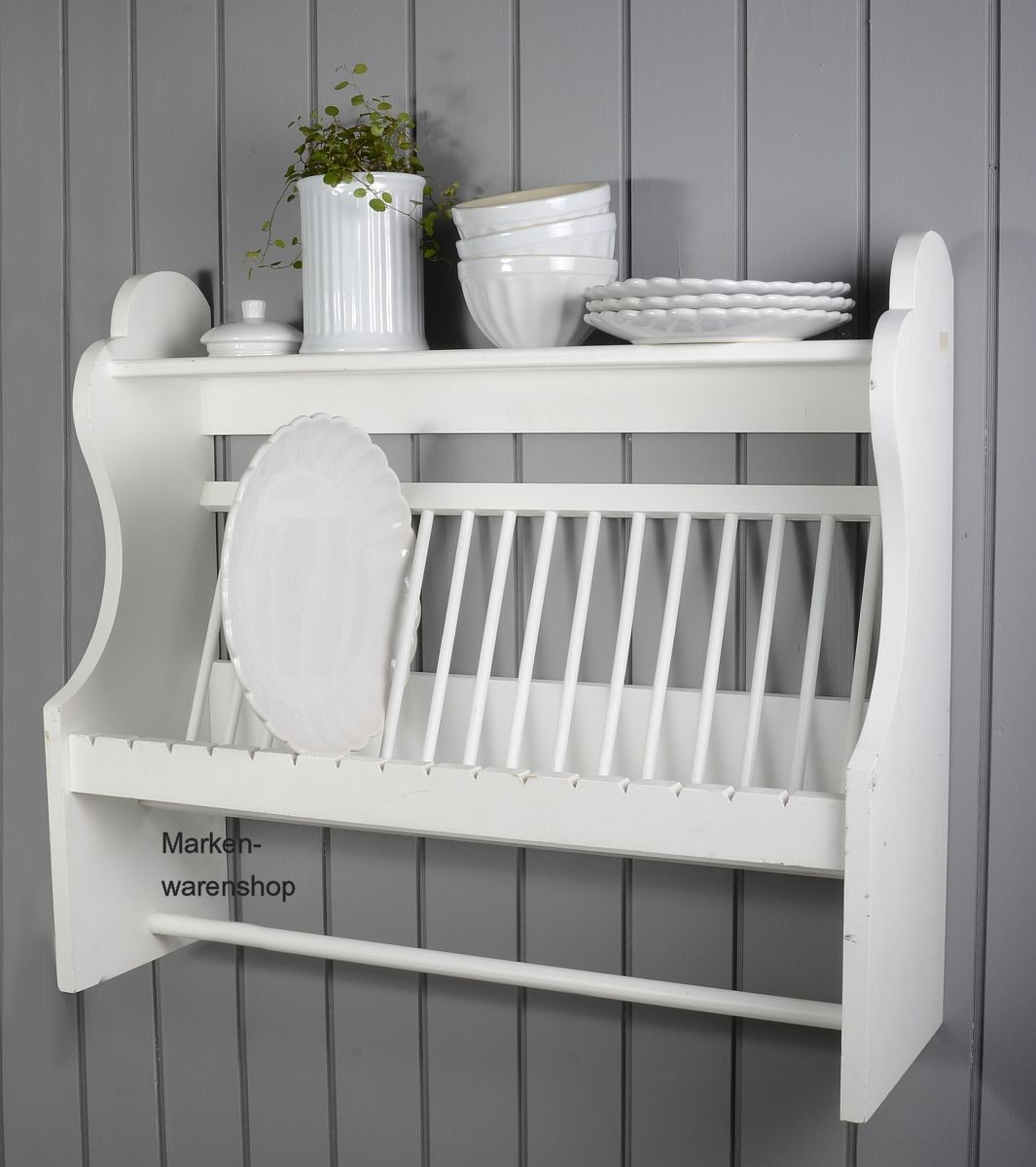 laursen tellerregal stange holz wei 7206 11 regal wandregal k chenregal shabby ebay. Black Bedroom Furniture Sets. Home Design Ideas