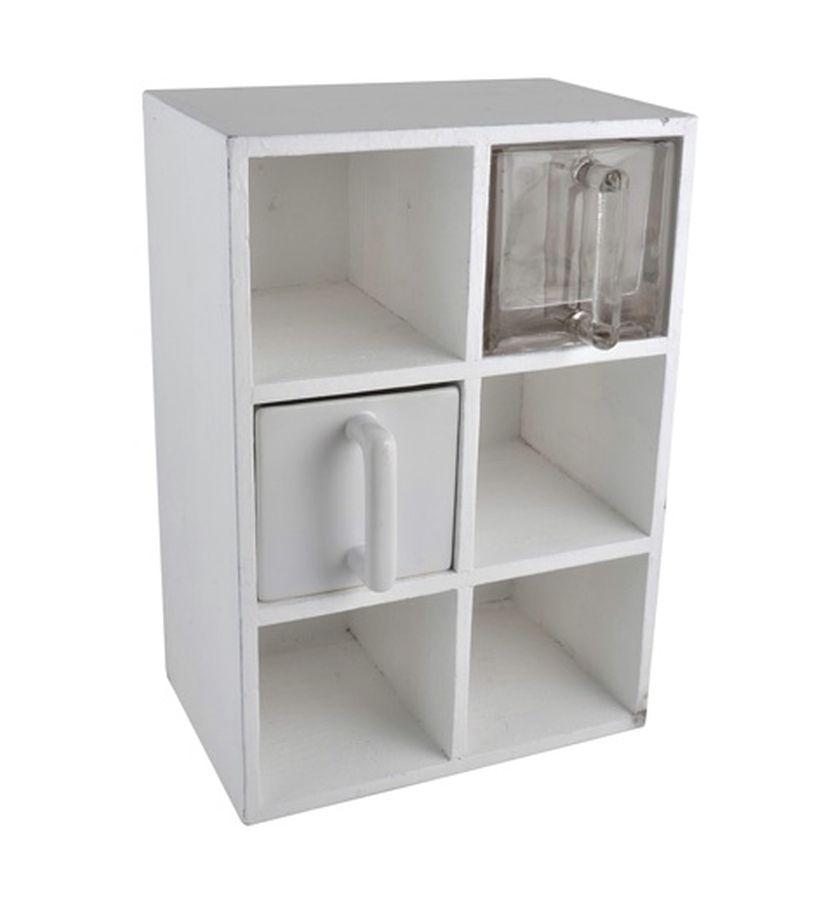 ib laursen regal mit 6 glasschubladen 5393 11 schrank k chenregal shabby ebay. Black Bedroom Furniture Sets. Home Design Ideas