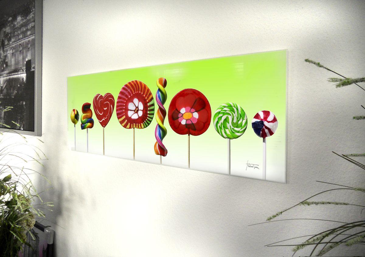 glasbild lolli 95x 33cm glasbilder wandbild bild. Black Bedroom Furniture Sets. Home Design Ideas