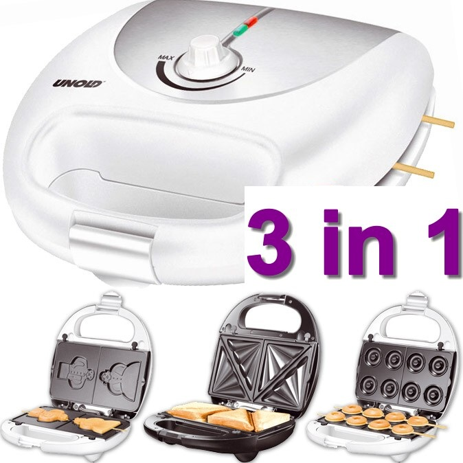 neu ovp unold flotter 3in1 sandwichmaker donutmaker waffeleisen toaster ebay. Black Bedroom Furniture Sets. Home Design Ideas