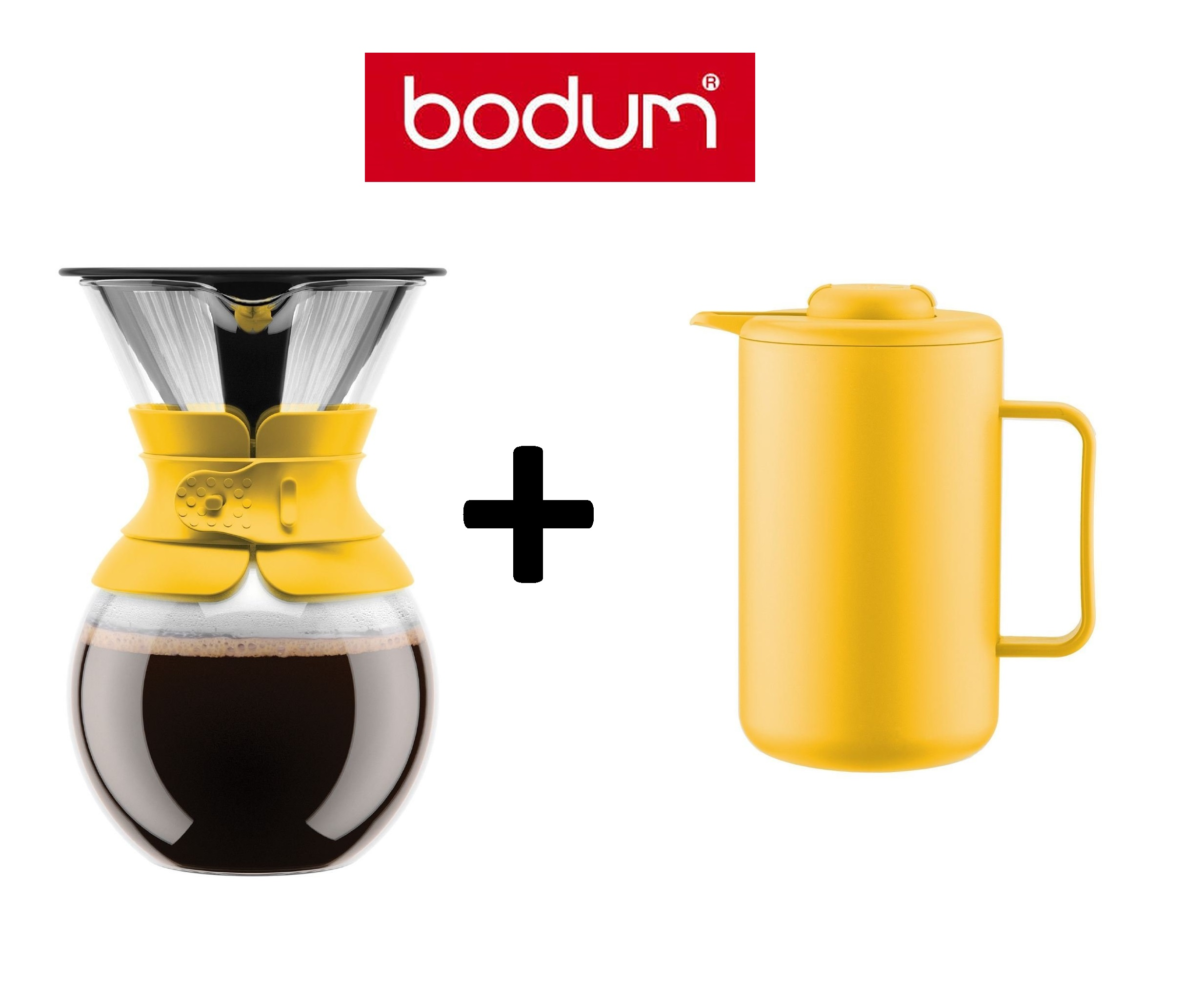 bodum pour over gelb kaffeebereiter mit permanentfilter thermokanne bistro ebay. Black Bedroom Furniture Sets. Home Design Ideas