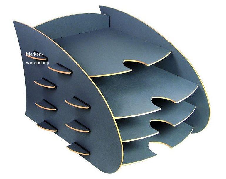 werkhaus aero ablage grau 4 f cher briefablage briefkorb ablagekorb ebay. Black Bedroom Furniture Sets. Home Design Ideas