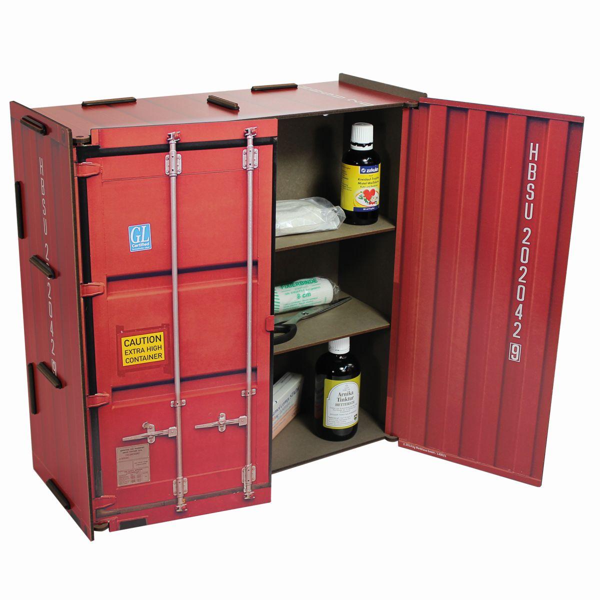 Werkhaus wandschrank container rot co1802 medizinschrank for Schrank container