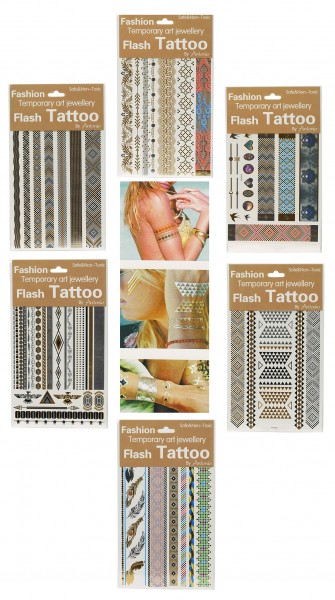 Flash Tattoo 6 Bögen mit ca. 80 wunderschönen Motiven Temporäre Tattoos