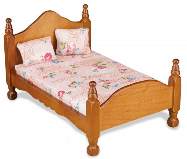 Reutter Miniaturen - Bett Doppelbett Holz 1.829/0 Matratze Kissen Puppenstube