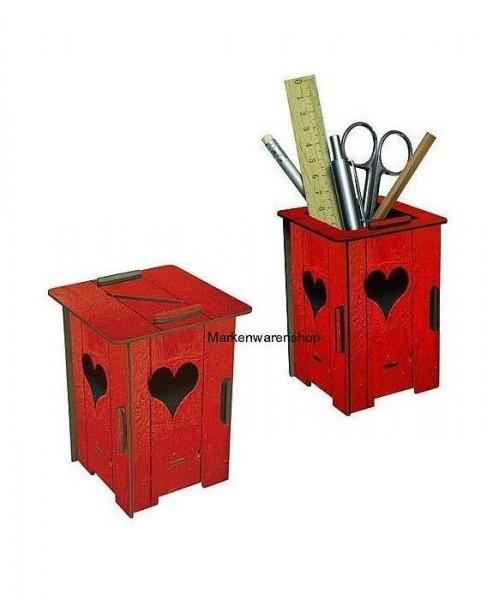 Werkhaus - Twin Box Herzhäuschen rot, Stifteköcher Stiftebox Spardose