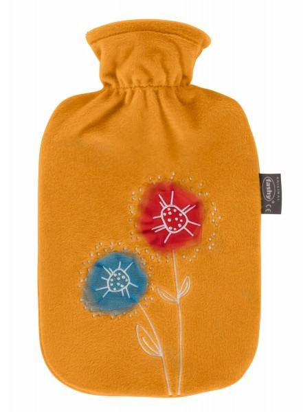 Wärmflasche mit Bezug Flauschbezug Sonnengelb mit Blumen 2L Fashy 67347
