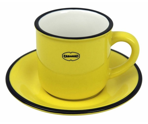 Cabanaz - Espressotasse mit Unterteller Gelb 1201704 Mokkatasse Moccatasse Retro