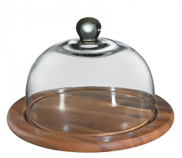 Zassenhaus - Käseglocke mit Glasdeckel Akazienholz Ø 30cm (groß Art.-Nr. 055870)
