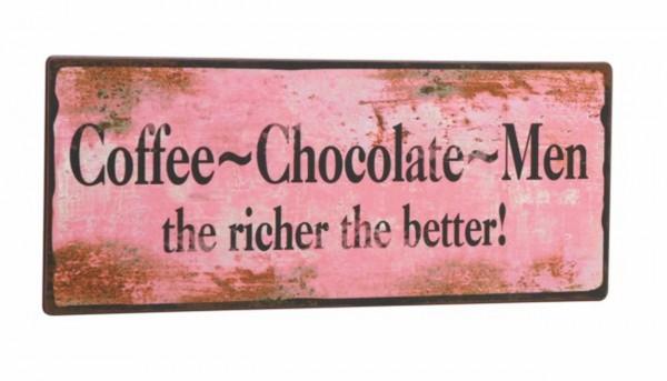 "EJA - Schild ""Coffe - Chocolate - Men..."" Wandschild Metallschild Shabby 1381201"