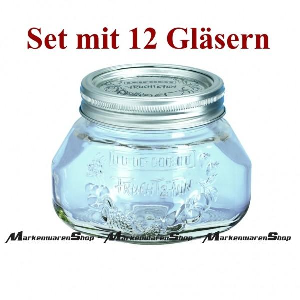 Leifheit 36103 Einkochglas 0,5 Liter - 12 Stück, Einmachgläser
