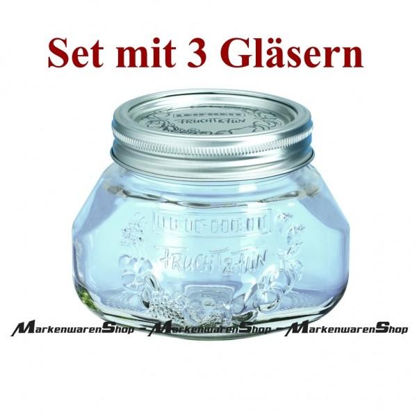 Leifheit 36103 Einkochglas 0,5 Liter - 3 Stück, Einmachgläser