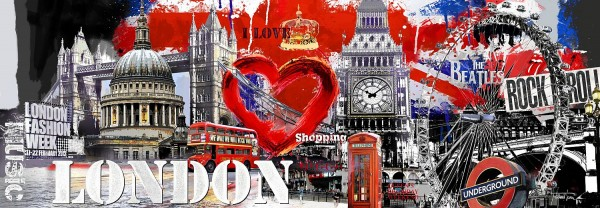 "XXL Glasbild ""London"" 95x33cm, Glasbilder Wandbild Bild Union Jack"