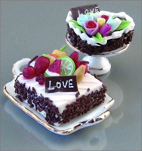 Reutter Miniaturen - Valentiskuchen Kuchenset Kuchen Torte 1.789/8 Puppenstube