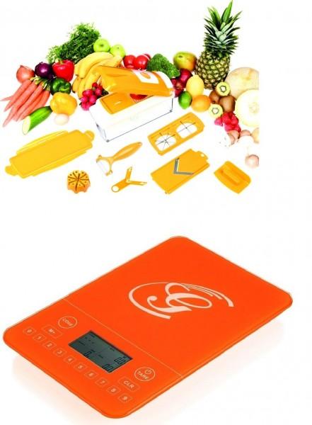 Genius Nicer Dicer plus Gemüseschneider Multischneider 13-tlg Orange Küchenwaage