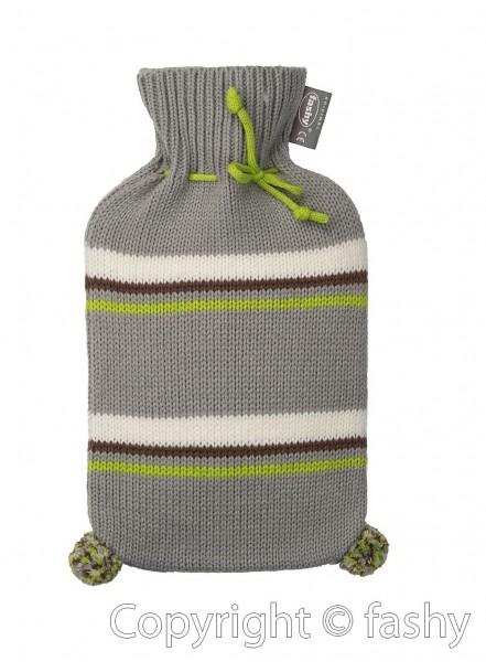 Wärmflasche mit Bezug Strickbezug Rollkragen Gestreift Bommel 2L Fashy 6705