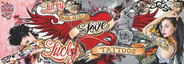 WOW Auswahl Glasbild 95x33cm Wandbild Bild Echtglasbild Tattoo 11228