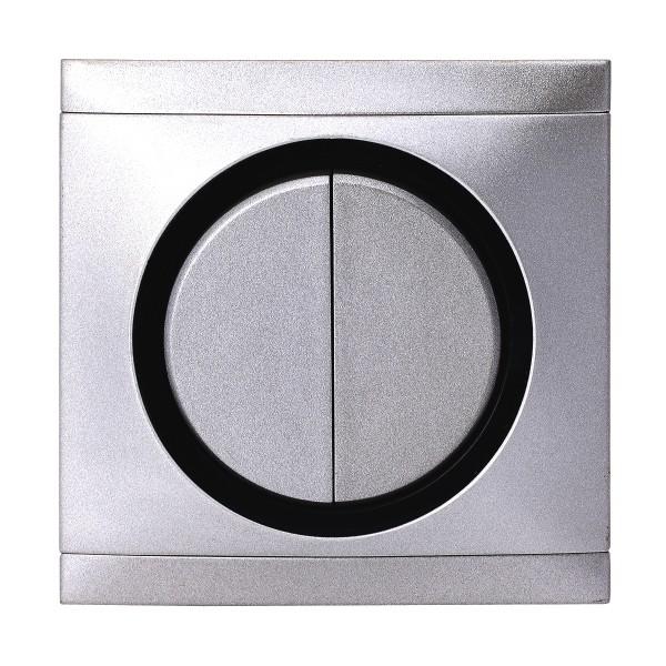 REV Ascoli Titan Silber Serienschalter m. Rahmen 925108 Lichtschalter Schalter