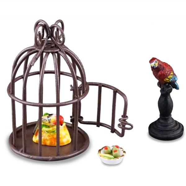 Reutter Porzellan Miniaturen - Papagei Vogel mit Vogelkäfig 1.681/6 Puppenstube