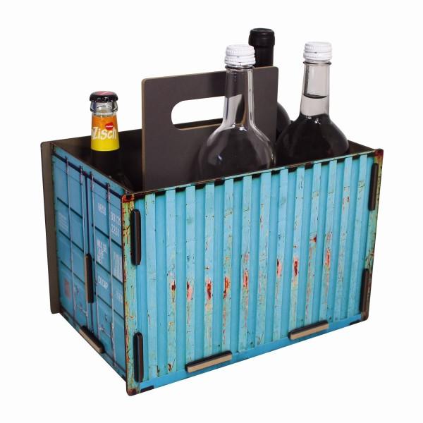"Werkhaus - Sixpack ""Container"" Türkis Flaschenträger Flaschenkorb Holz (CO1503)"