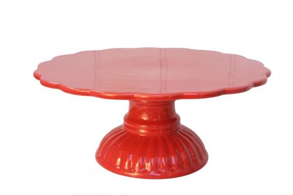 Ib Laursen - Tortenplatte Fuß Mynte Keramik Rot 2079-33 Kuchenplatte Shabby