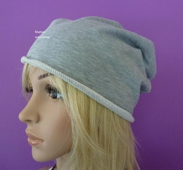 Markenwarenshop - Long Beanie Slouch Grau Kappe Mütze Damen Herren