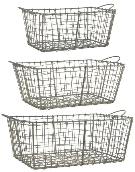 3er Korb Set Körbe Korbsatz aus Metall Kiste Shabby Vintage Ib Laursen 57115-18