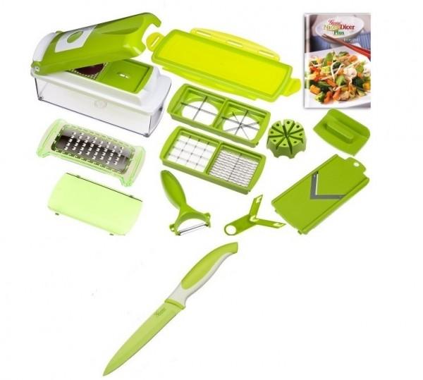 14-tlg. Genius Nicer Dicer plus Gemüseschneider Küchenhobel grün + Küchenmsser