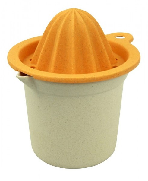 Zuperzozial Zitruspresse Saftpresse Orange Weiß + Behälter 1400605 bio abbaubar