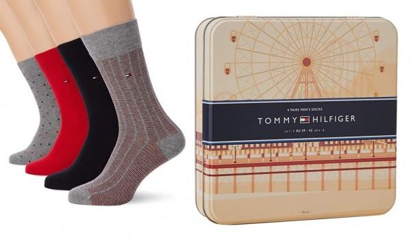 4 Paar Tommy Hilfiger Herren Socken Business Strümpfe in Geschenkbox