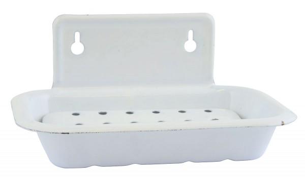 Laursen - Seifenschale Emaille Antik Weiß 0422-11 Wandseifenschale Seifenhalter