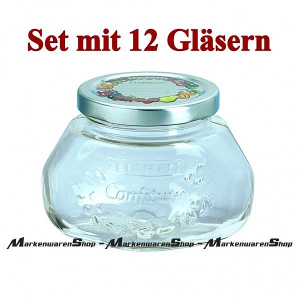 Leifheit 36003 Gelee-Glas 0,25 Liter - 12 Stück, Einkochglas, Einmachgläser