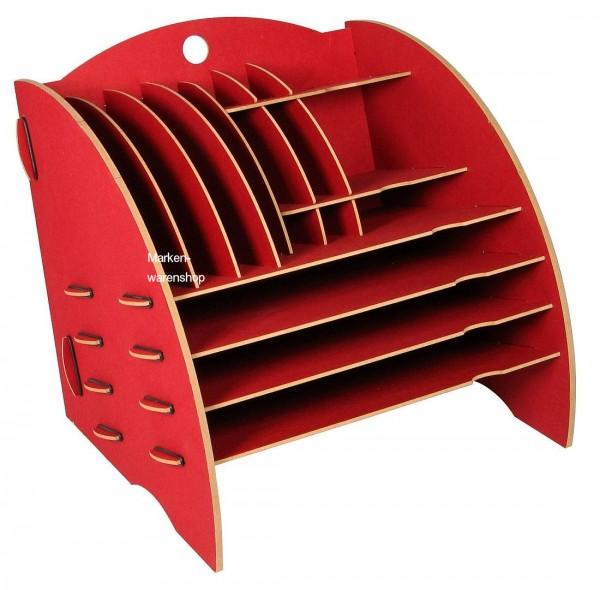 Werkhaus - Ablage Big Organizer Rot Briefablage Stiftehalter Schreibtisch