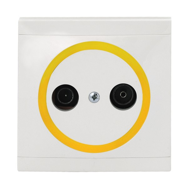 REV Ascoli weiß/gelb Antennen-Dose TV/RF Dose inkl. Rahmen 922104