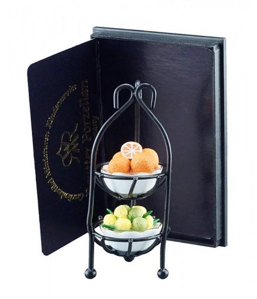 Reutter Porzellan Miniaturen - Obstetagere Obstkorb 1.497/6 Deko für Puppenstube