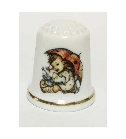 """Reutter Porzellan Miniaturen - Fingerhut Hummel """"Bin zufrieden"""" (32.258/0)"""