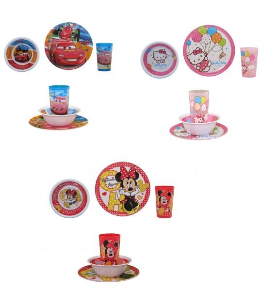 Auswahl Kindergeschirr 3 teilig Minnie Mouse, Cars oder Hello Kitty