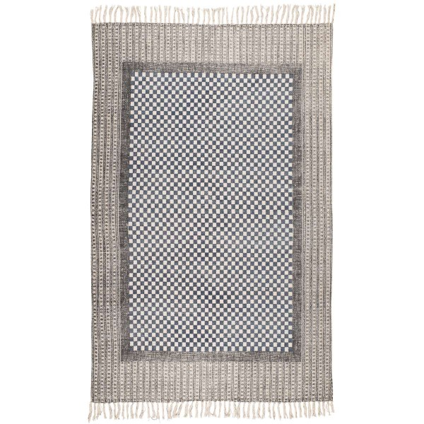 Laursen - Teppich 120x180cm Grau Muster 6595-00 Matte Läufer Bodenmatte Fransen