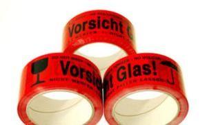 3 Rollen Vorsicht Glas ! Klebeband Rot 50mm x 66m Leise