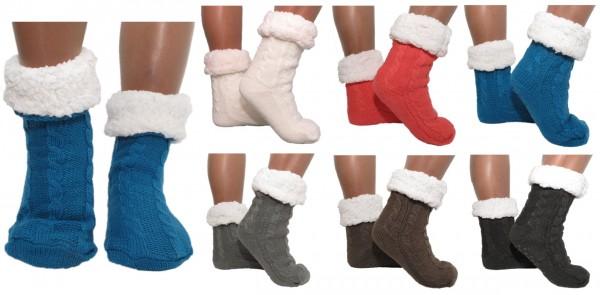 Hütten- Socken Schuhe Hausschuhe ABS Teddy - Uni Zopf -