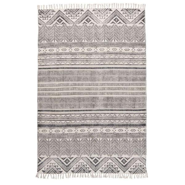 Laursen - Teppich 120x180cm Grau Muster 6458-00 Matte Läufer Bodenmatte Fransen