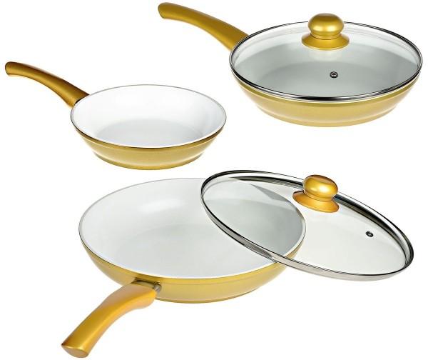 Genius - Cerafit Gold Pfannen Set 5-tlg. Keramik-Pfannen Bratpfanne 24031