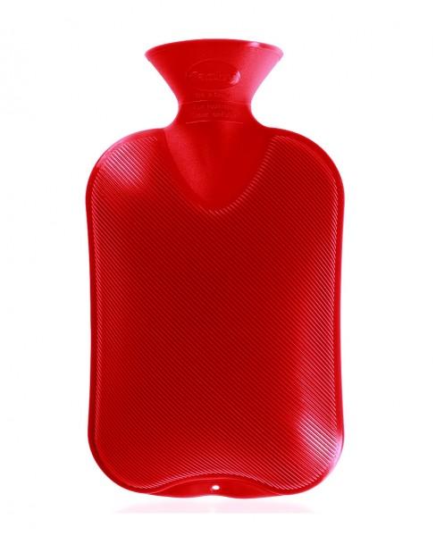 Fashy - Wärmflasche Kunststoff Rot Doppellamelle (2 gleiche Seiten) Bettflasche
