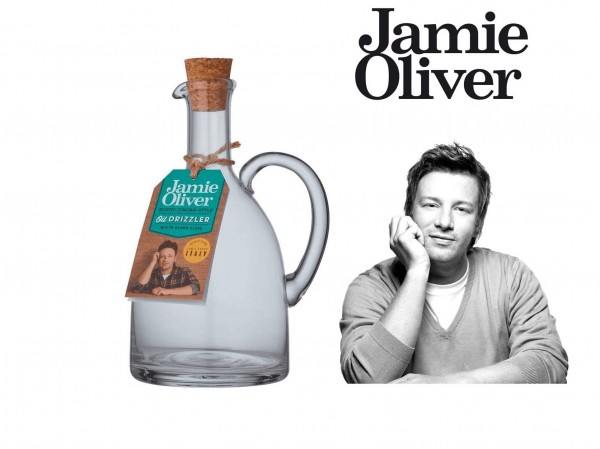 Jamie Oliver Rustic Italian Öldosierer mit Korkverschluss Dosierer Glas 650 ml