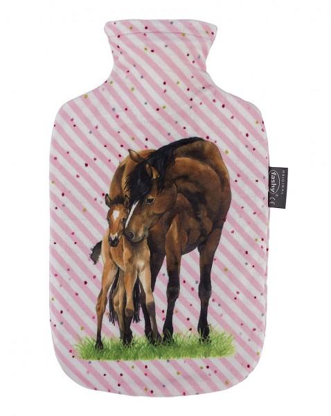 Wärmflasche mit Bezug Pferd Pferdefreunde Rosa 2 Liter Fashy 6651