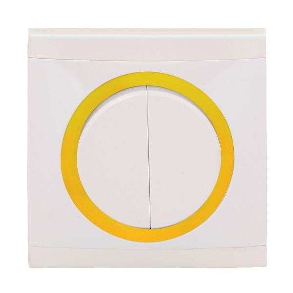 REV Ascoli weiß/gelb Serienschalter m. Rahmen 925104 Lichtschalter Schalter