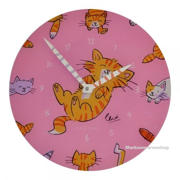 "Nextime - Wanduhr Katze ""Tickle My Tummy"" Ø 30cm Kinderzimmeruhr Uhr Pink (8810)"