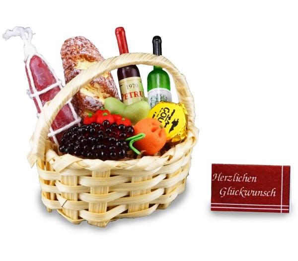 Reutter Miniaturen - Geschenkkorb gefüllt 1.403/6 Lebensmittel Korb Puppenstube